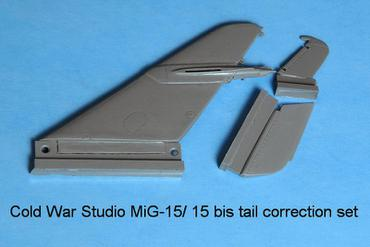 MiG-15, MiG-15 bis and MiG-15 UTI vertical fin correction set for Trumpeter in 1/48 scale